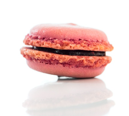 pink cookies macaroon isolated on a white background photo