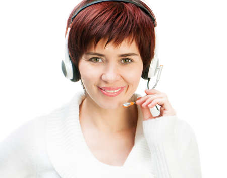 Pretty Young woman Wearing A Headset Against White Stock Photo - 18228746