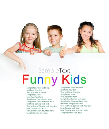 blank banner: cute kids with white board with sample text