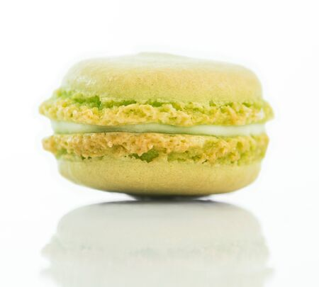 mint cookies macaroon isolated on a white background photo