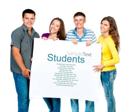 group of young people with a white banner  sample text  photo