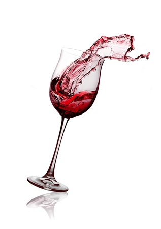 glass of white wine: red wine glass on a white background