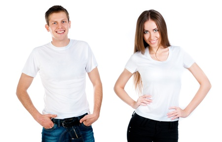 man and girl in white T-shirt isolated on a white isolated photo