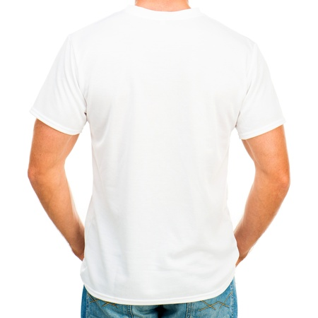 White t-shirt on a young man isolated  back  photo