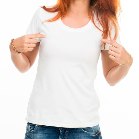 t shirt: Smiling girl in white t-shirt isolated