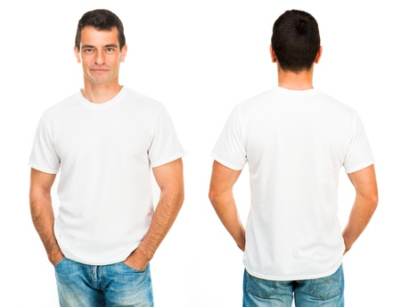 man clothing: White t-shirt on a young man isolated, front and back