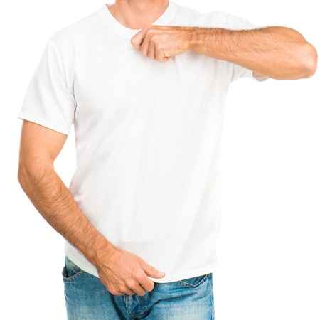 man t shirt: white t-shirt on a young man isolated Stock Photo