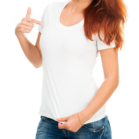 blank shirt: white t-shirt on a girl with perfect body Stock Photo