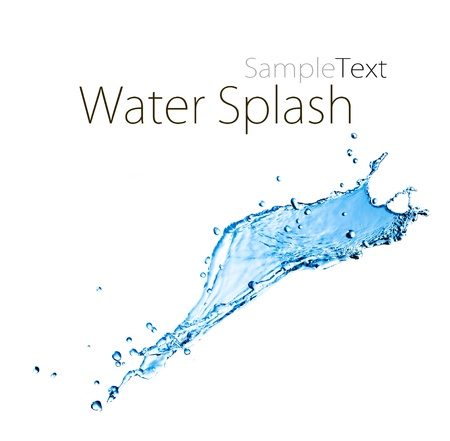 water level: blue splash close up shoot isolated on a white background with sample text