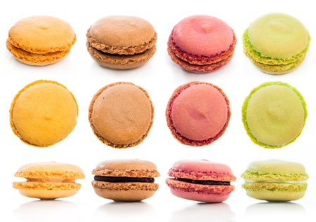Set of tasty cookies macaroon isolated on a white background photo