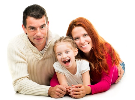 Smilimg happy family on the white background photo
