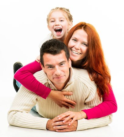 Smilimg happiness family on the white background photo