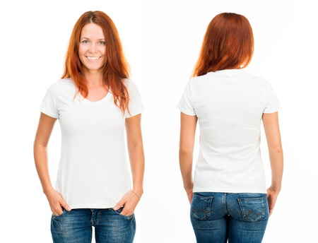 women in jeans: white t-shirt on a smiling girl, front and back
