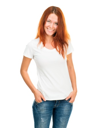 Smiling girl in white t-shirt isolated photo