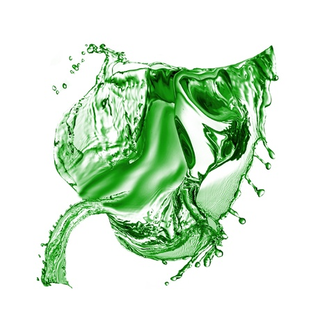 made of water: Green Leaf made of water splash isolated on a white background Stock Photo