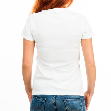 short back: Girl in white t-shirt over white  back  Stock Photo