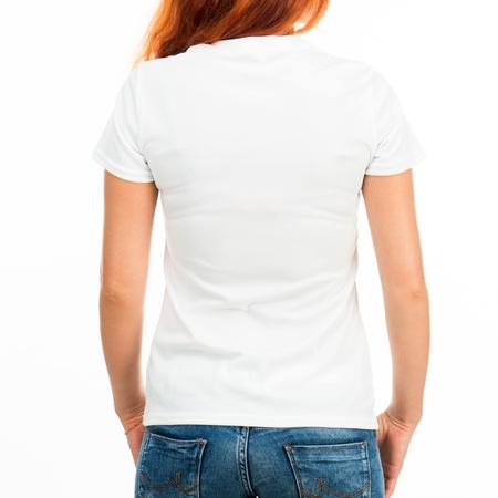black t shirt: Girl in white t-shirt over white  back  Stock Photo