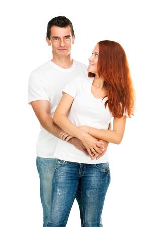 happy couple white background: Happy young couple on white background Stock Photo