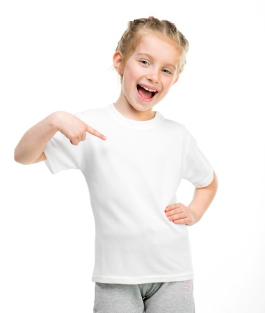 t shirt model: Smiling little girl in white t-shirt over white background Stock Photo