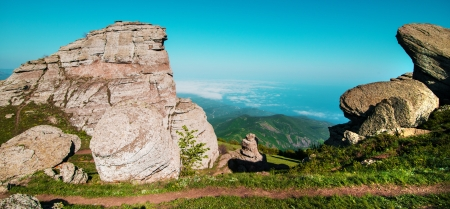 panoramatic: beautiful panorama view of the mountains and rocks Stock Photo