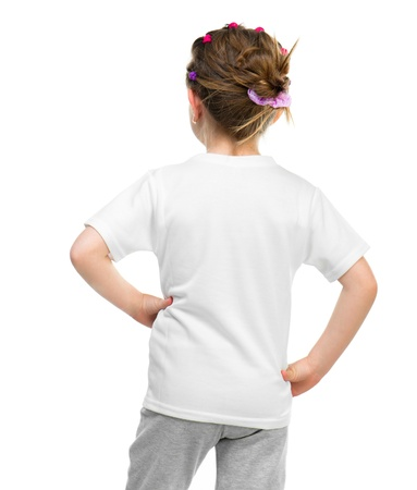 kids wear: little girl in white t-shirt  back  isolated on a white background