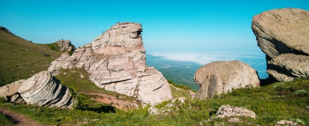 panoramatic: panorama view of the mountains and rocks Stock Photo