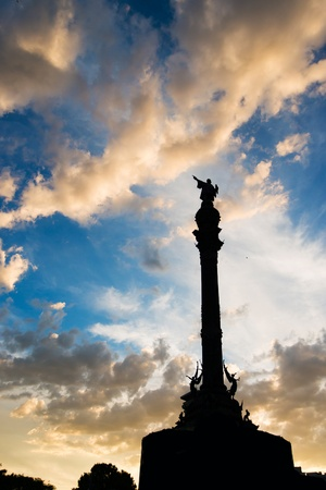 christopher columbus: Columbus statue in Barcelona at sunset sky background