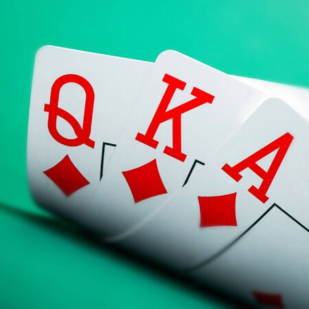ace: playing cards on a green table casino