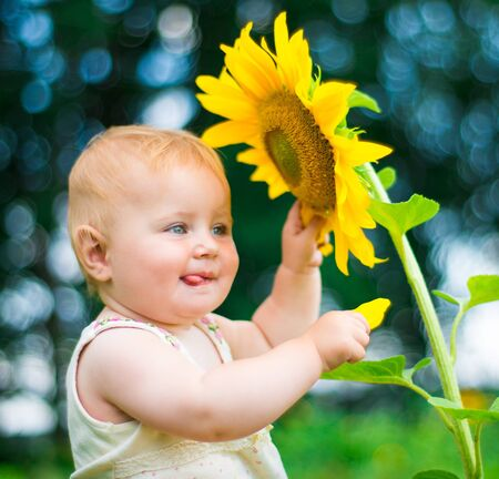 Smiling baby with sunflower on summer field photo