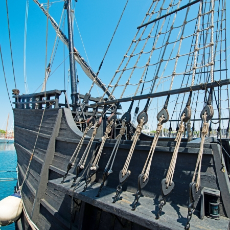 Old ship black, tourist attraction in Barcelona photo