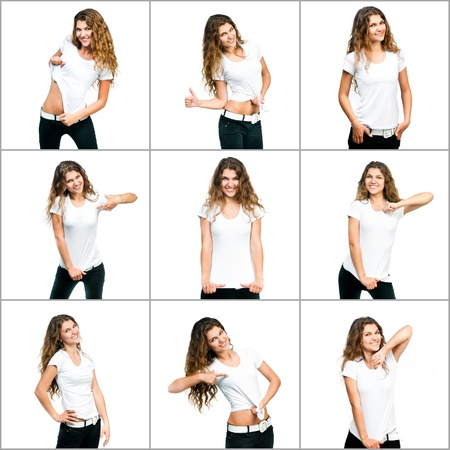 tshirts: set of images with girl in white t-shirt Stock Photo