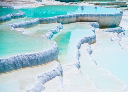 pamukkale: Famous blue travertine pools and terraces in Pamukkale Turkey