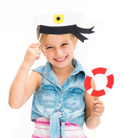 cute little girl in sailor hat photo