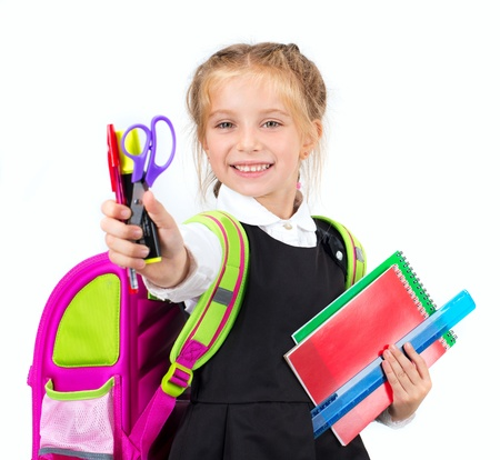 little cute girl with a stationery on white background