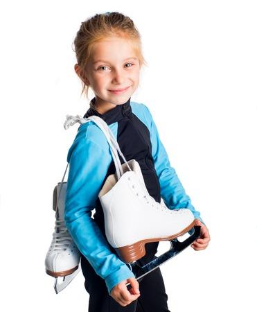 patinaje sobre hielo: Ni�a con patines aislados en fondo blanco