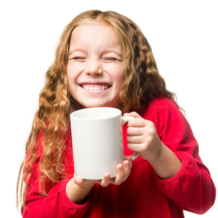 funny little girl in a white chef hat cup, isolated Stock fotó