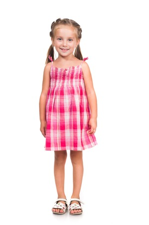 cute smiling little girl isolated on white background