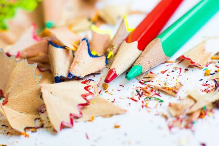 shavings from sharpening and pencils Фото со стока