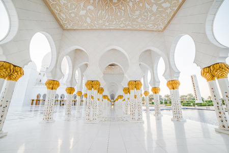 Beautiful columns Sheikh Zayed Mosque in Abu Dhabi, capital of the United Arab Emirates