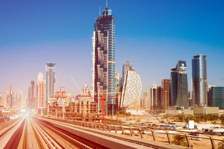 modern subway line on the urban landscape in Dubai Stok Fotoğraf