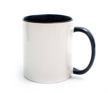 coffee mug: white mug with a black handle and an inner surface isolated on white background
