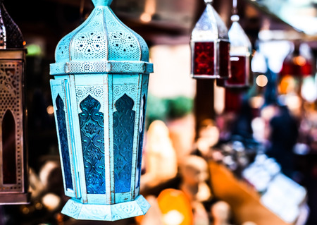 Traditional arabic lamp at souvenir shop in Dubai, UAE