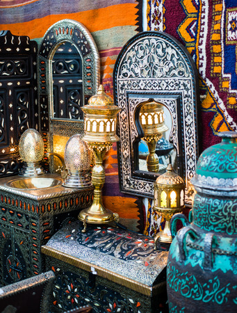 ancient oriental lamps, mirrors and chests