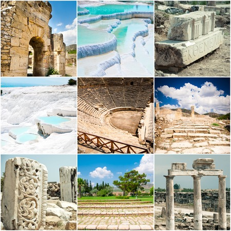 geological: Sete didderent Sights of ancient Pamukkale in Turkey
