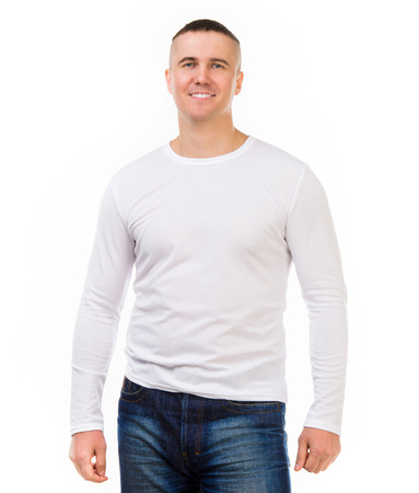 young attractive man in a white shirt with long sleeves isolated on white background