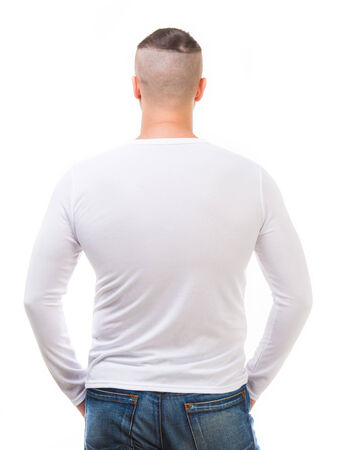 long sleeve: back of young man in a white shirt with long sleeves isolated on white background Stock Photo
