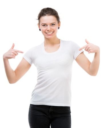 portrait of happy girl in white t-shirt and isolated