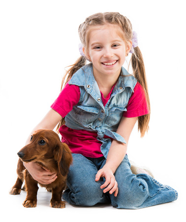 little girl playing with a dog breed dachshund on white photo