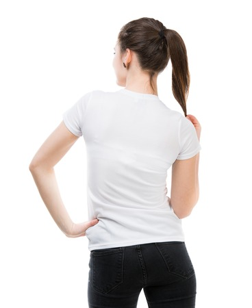 woman back: portrait of happy girl in white t-shirt and isolated on white