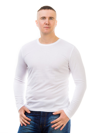 long sleeve: young man in a white shirt with long sleeves isolated